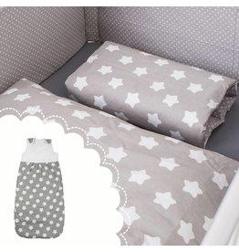 """Linge de lit """"étoiles gris"""" + Gigoteuse """"étoiles gris """" 70-90 cm"""