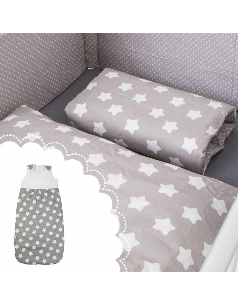 """Linge de lit """"étoiles gris"""" + Gigoteuse """"étoiles gris"""" 70-90 cm"""