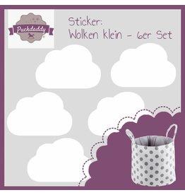 """Aufbewahrungskorb """"Punkte weiß"""" + Sticker """"Wolken weiß klein"""""""
