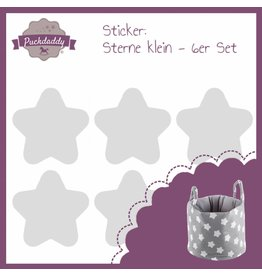 "Aufbewahrungskorb ""Stern grau"" + Sticker ""Sterne grau"""
