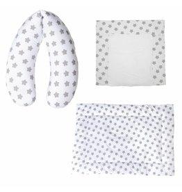 """Coussin d'Allaitement """"Ètoiles blanc"""" + Matelas à langer """"Ètoiles blanc"""" + Tapis d'eveil """"Ètoiles blanc"""""""