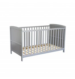Babybett in grau, auch umbaubar zum Kinderbett