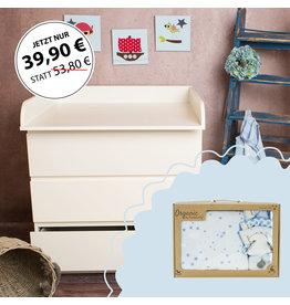 """Bords arrondis - Plan à langer pour commodes IKEA Malm + Coffret Bio Bébé """"Étoiles bleu"""""""