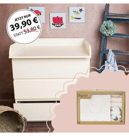 """Bords arrondis - Plan à langer pour commodes IKEA Malm + Coffret Bio Bébé """"Étoiles rose"""""""