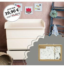"""Wickelaufsatz """"Rund"""" in weiß für IKEA Malm Kommode + Geschenkbox rosa"""
