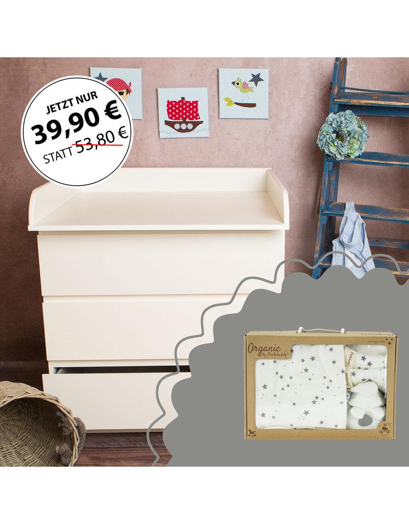 """Wickelaufsatz """"Rund"""" in weiß für IKEA Malm Kommode + Bio Baumwolle Geschenkbox """"Waschset Sterne grau"""""""
