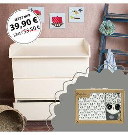 """Wickelaufsatz """"Rund"""" in weiß für IKEA Malm Kommode + Geschenkbox """"Panda"""""""