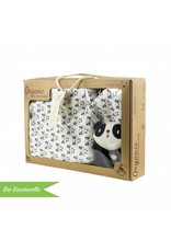 """Wickelaufsatz """"Rund"""" in weiß für IKEA Malm Kommode + Bio Baumwolle Geschenkbox """"Panda"""""""
