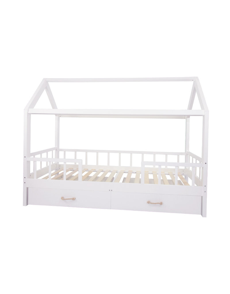 """House Bed """"Carlotta"""" with guardrail with drawers 96x208 cm"""