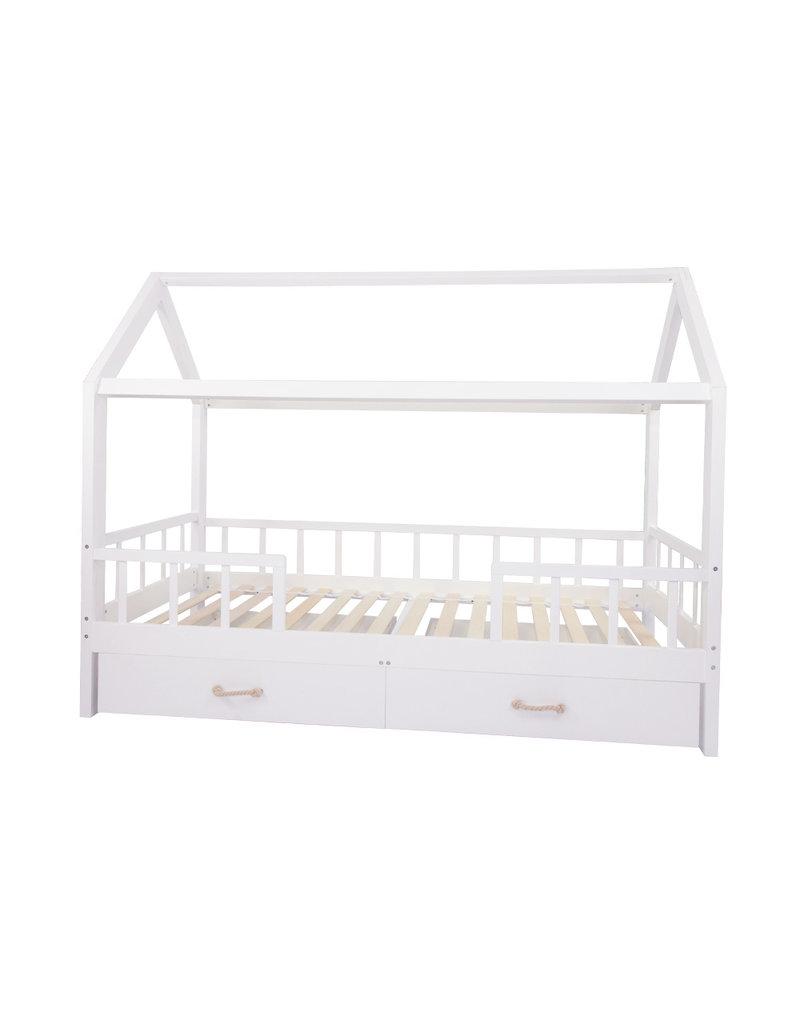 """Lit maison """"Carlotta"""" avec barrieres de protection avec tiroirs 96x208 cm"""