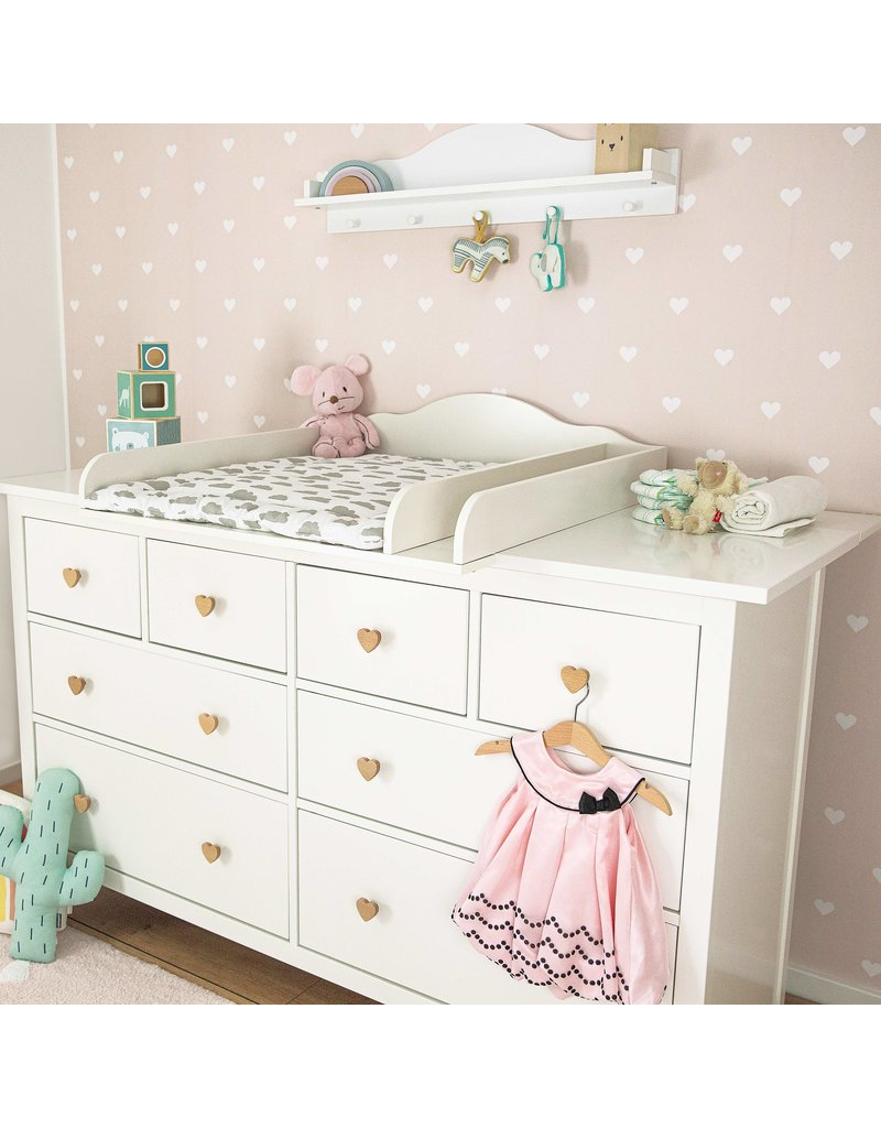 """Puckdaddy Changing Top """"Cloud"""" with separated compartment and extra wide cover for IKEA Hemnes dresser 160 cm"""
