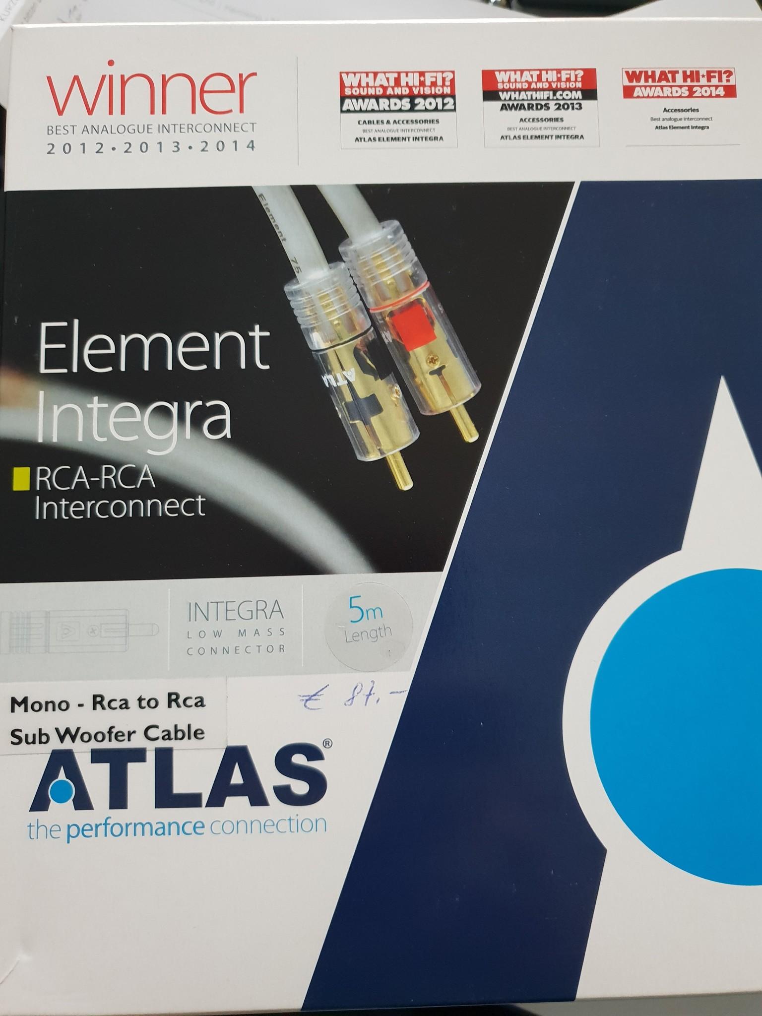 Atlas Atlas Element Integra RCA-RCA Interconnect Mono Sub 5m