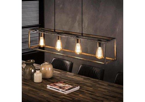 Industriële Hanglamp Jelte 4-lichts oud zilver