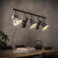 Industriële hanglamp Gaffney 5-lichts betonlook