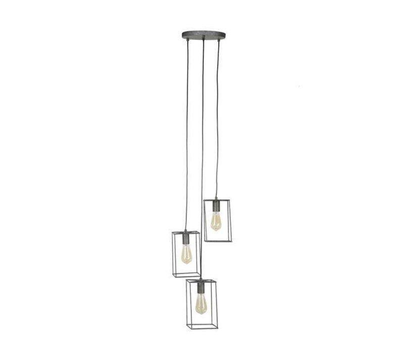 Industriële hanglamp Brawley 3-lichts getrapt
