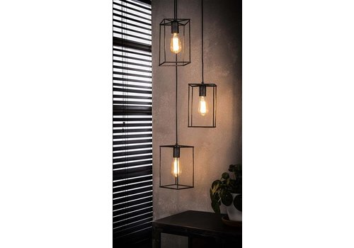 Industriële hanglamp Camille 3-lichts getrapt