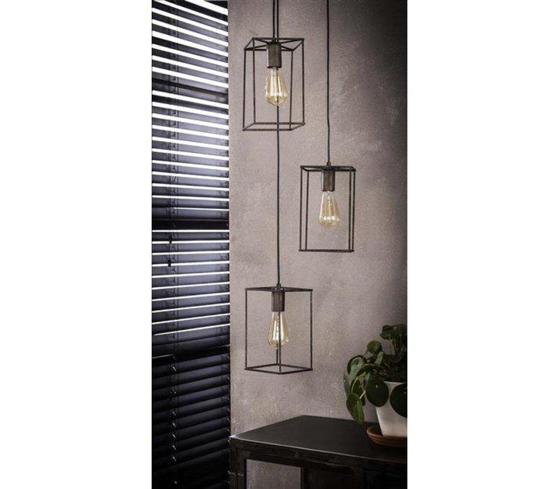 Industriële hanglamp Hardin 3-lichts getrapt