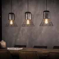 Hanglamp Huron 3-lichts oud zilver