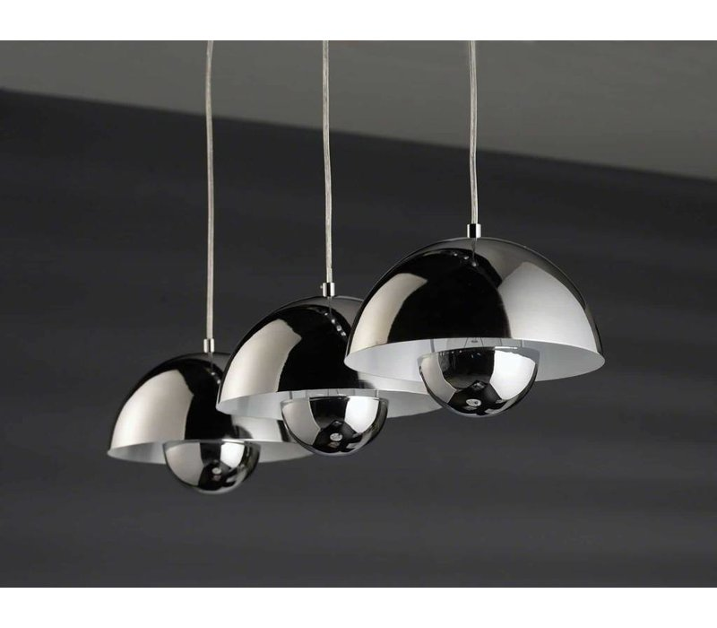 Hanglamp 3L halfronde kap chrome