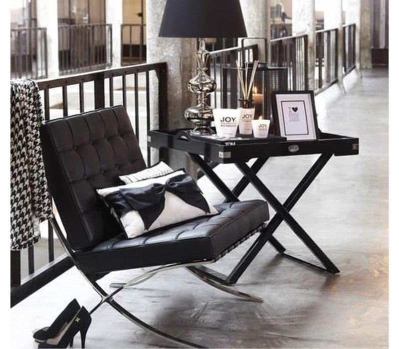 Expo fauteuil zwart leer