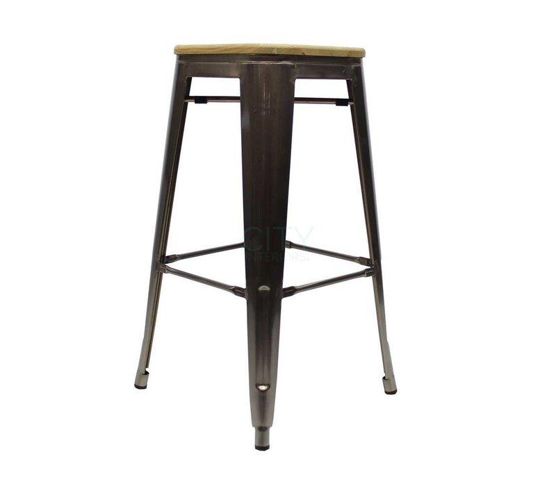 Industriële Blade barkruk houten zitting metal