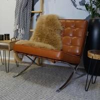 Expo fauteuil cognac leer