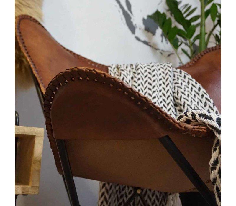 Vlinderstoel Bruin leder