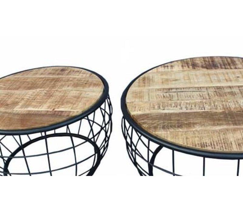 Industriële salontafelset Mace mangohout