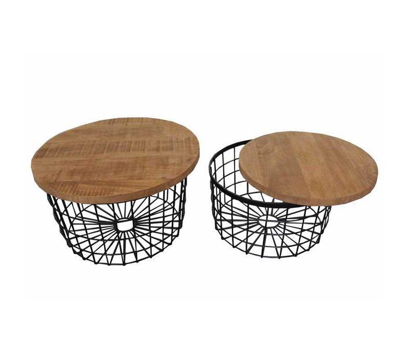 Industriële salontafelset Given mangohout