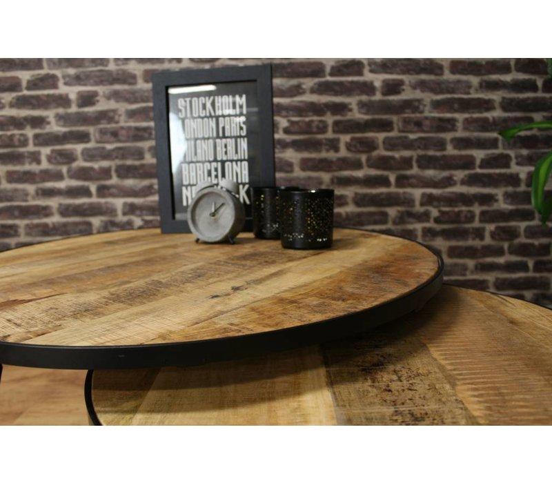 Industriële mangohout salontafelset Alec