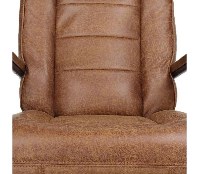 Industriële fauteuil Glenn cognac