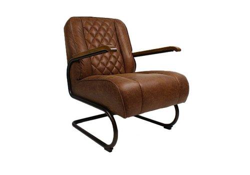 Industriële fauteuil Mex cognac