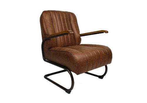 Industriële fauteuil Wald cognac