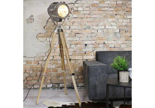 Industriële vloerlamp Vito hout metaal