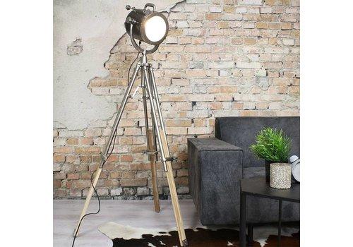 Industriële vloerlamp Daan raw nikkel