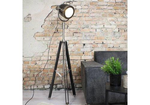 Industriële vloerlamp Kyra Raw nikkel