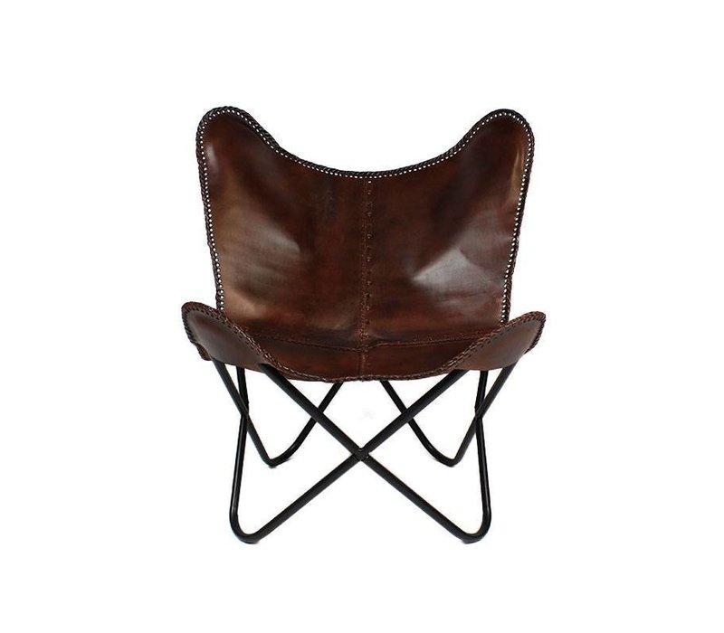 Vlinderstoel Dallas bruin leer