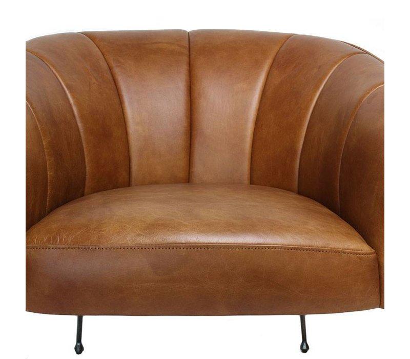 Industriële fauteuil Rose cognac leer