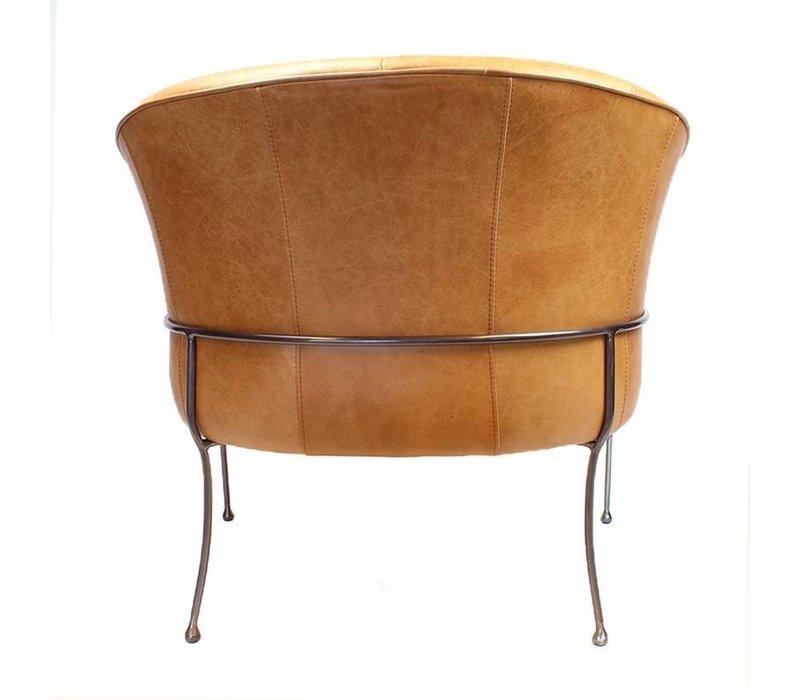Industriële fauteuil Rose sand leer