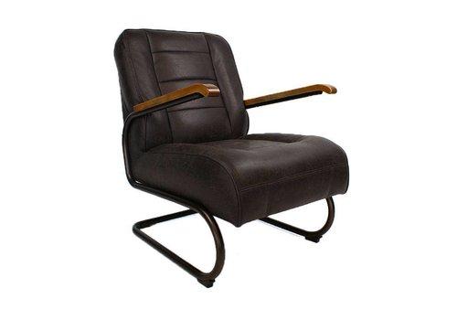 Industriële fauteuil Glenn donkerbruin
