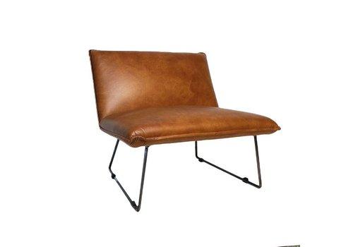Industriële fauteuil Kian cognac leer