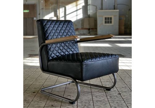 Bronx71 Industriële fauteuil Miley zwart leer