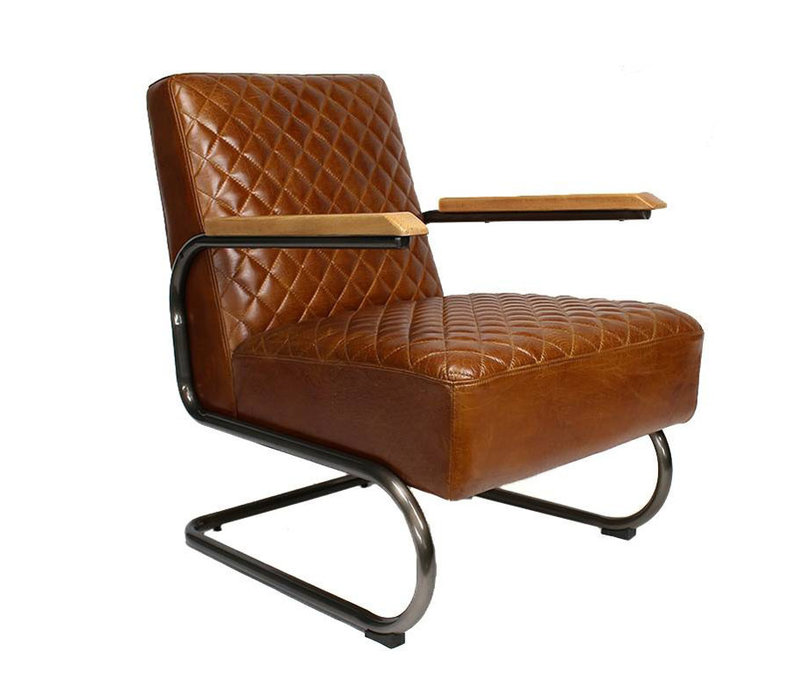 Industriële fauteuil Miley cognac leer