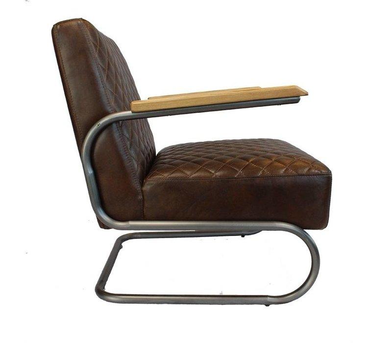 Industriële fauteuil Miley donkerbruin leer
