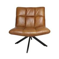 Industriële fauteuil Madi cognac leer