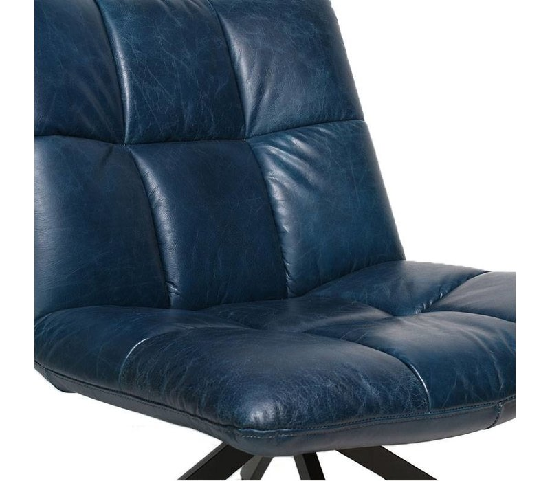 Industriële fauteuil Madi blauw leer