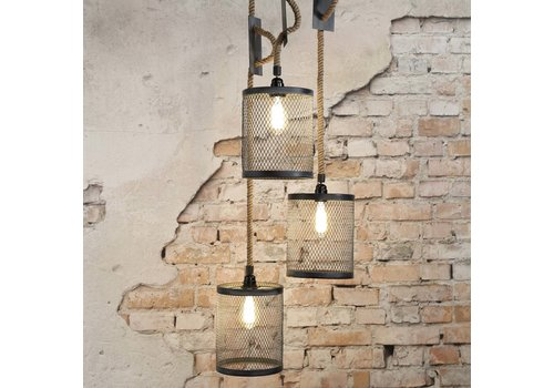 Industriële hanglamp Kiki 3xØ20 touw