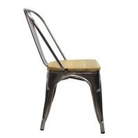Industriële retro stoel Blade metaal met hout