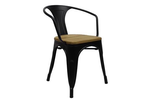 Industriële retro stoel met arm Blade hout zwart
