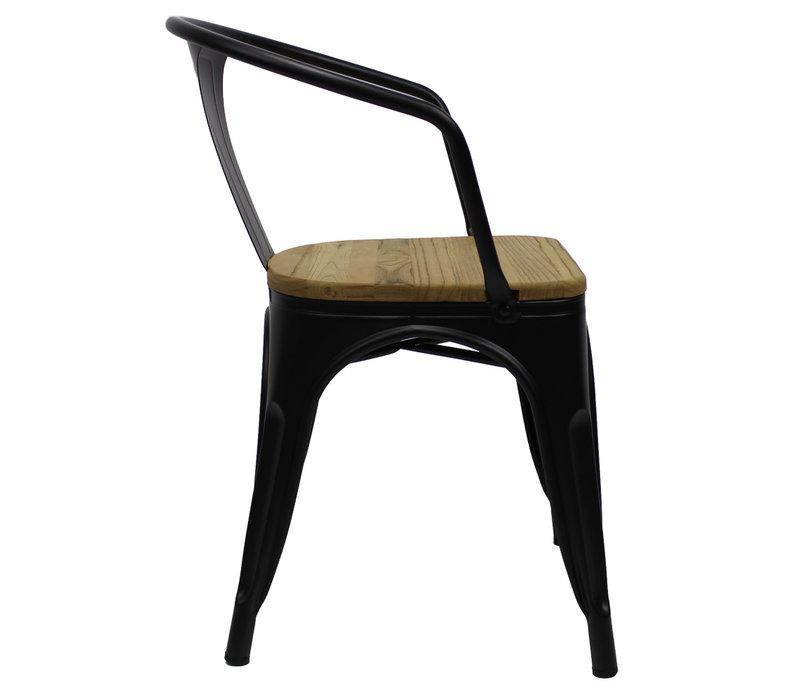 Industriële retro stoel met arm Blade zwart
